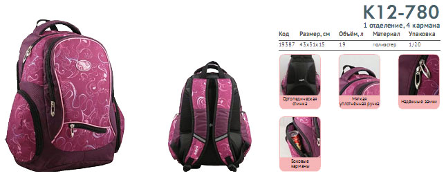 K12-780 Рюкзак Kite Beauty 780